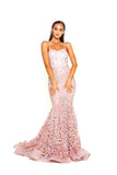 portia and scarlett holly ps2009 corset bodycon long boned mermaid prom dress blush front