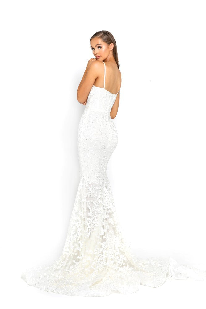 portia and scarlett holly ps2009 corset bodycon long boned mermaid prom dress white back