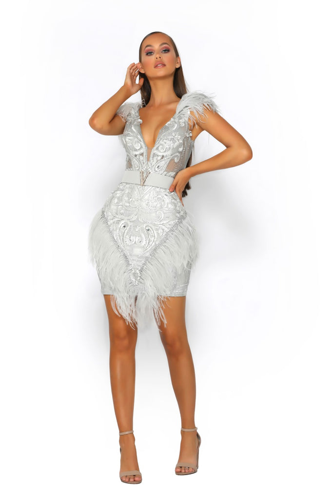 Portia & Scarlett PS2011 - Club 55 Silver mini dress ostrich feathers at shaide boutique uk london prom shop