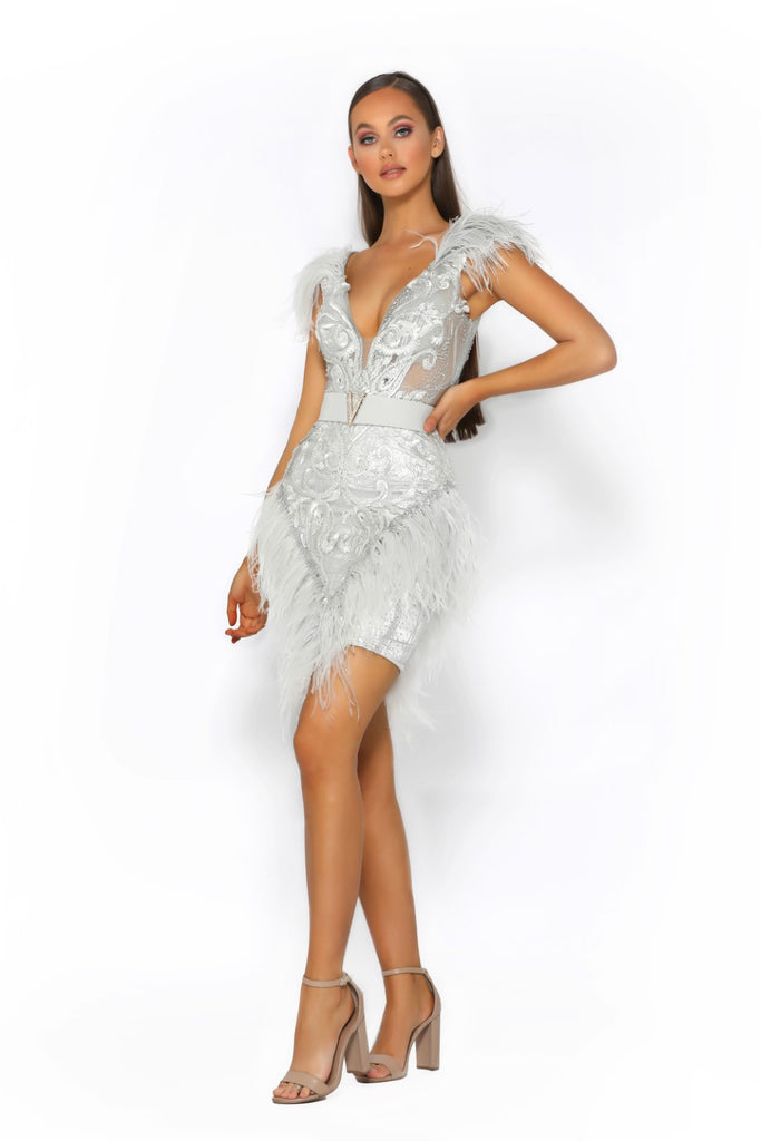 Portia & Scarlett PS2011 - Club 55 Silver mini dress ostrich feathers at shaide boutique uk london prom shop side