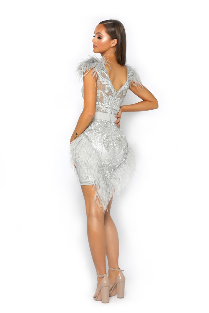 Portia & Scarlett PS2011 - Club 55 Silver mini dress ostrich feathers at shaide boutique uk london prom shop back