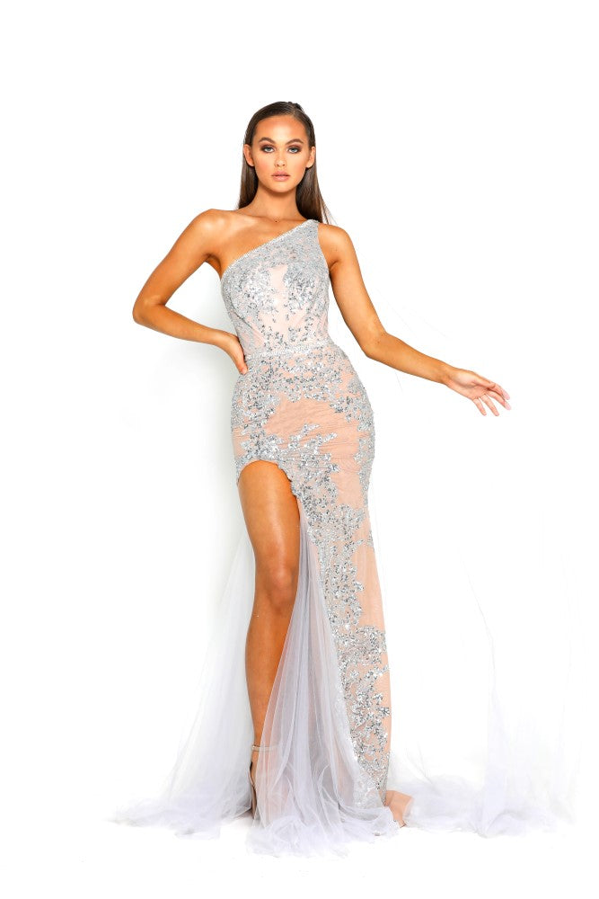 portia and scarlett ps2020 jordan nude asymmetric shoulder hollywood red carpet evening dress from shaide boutique uk