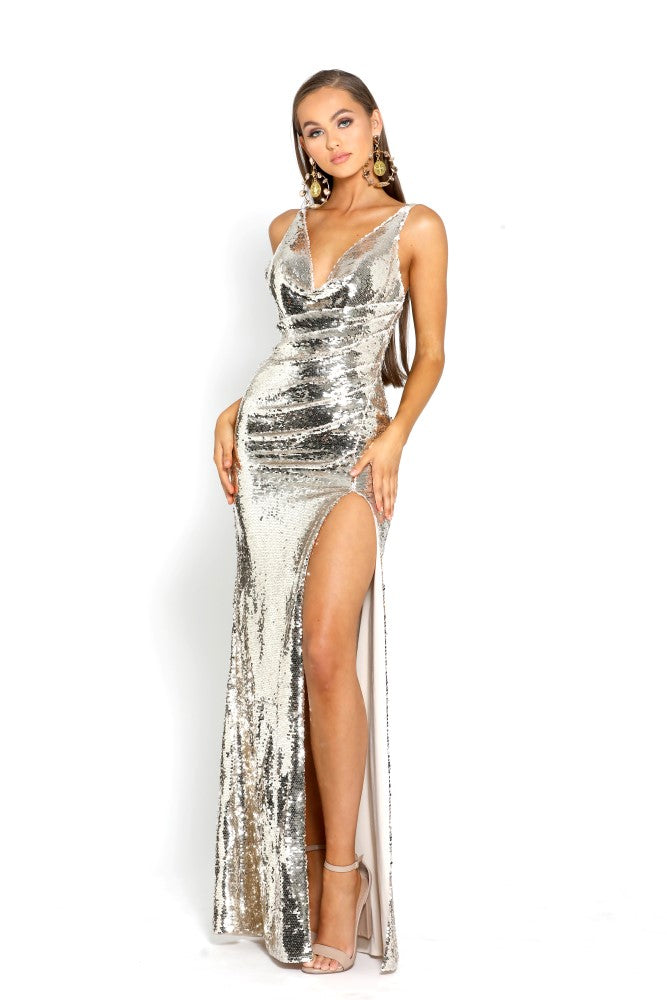 portia and scarlett gigi gold sequin prom dress shaide boutique uk ps2024 front