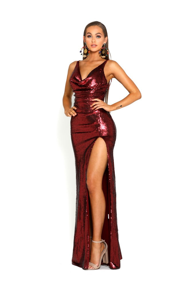 portia and scarlett red sequin ps2024 evening gown one thigh high split prom dress shaide boutique uk