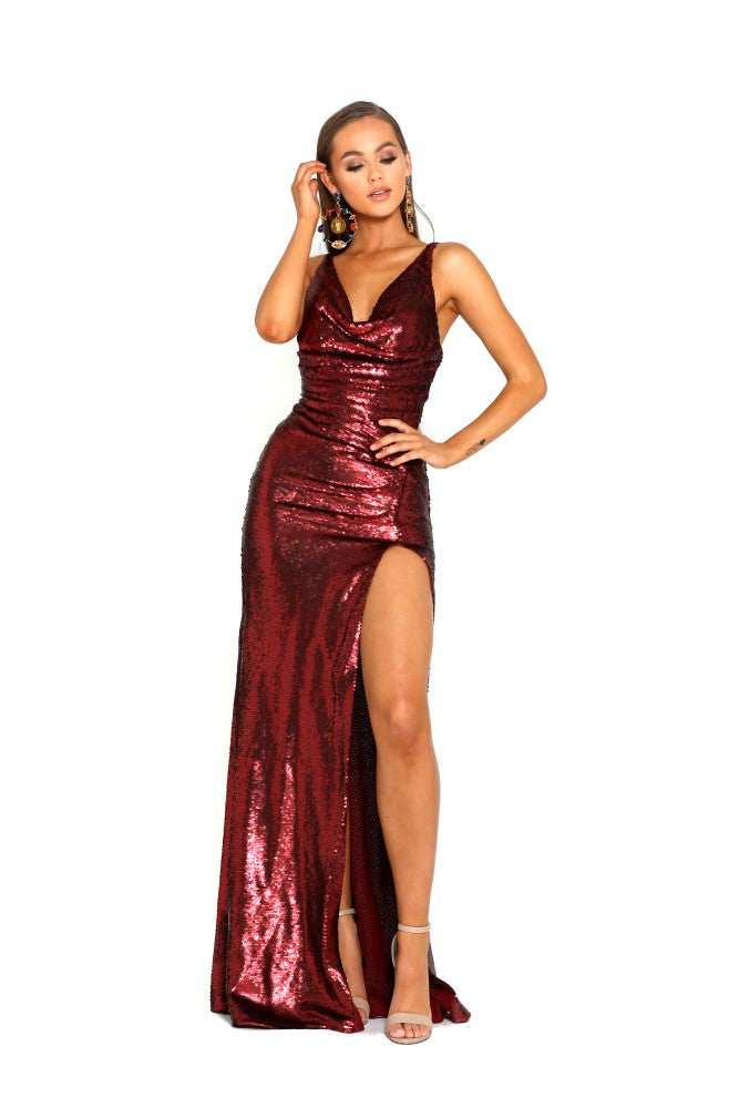 portia and scarlett red sequin ps2024 evening gown one thigh high split prom dress shaide boutique uk front