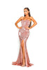 portia and scarlett ps2034 rose pink sequin strapless prom dress thigh high split at shaide boutique prom dresses uk side