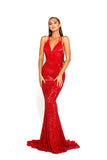 Portia & Scarlett Cardi - Red backless sexy mermaid prom dress