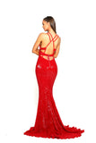 Portia & Scarlett Cardi - Red backless sexy mermaid prom dress mermaid train