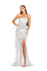 Portia & Scarlett Parker - Silver Sequin strapless evening dress