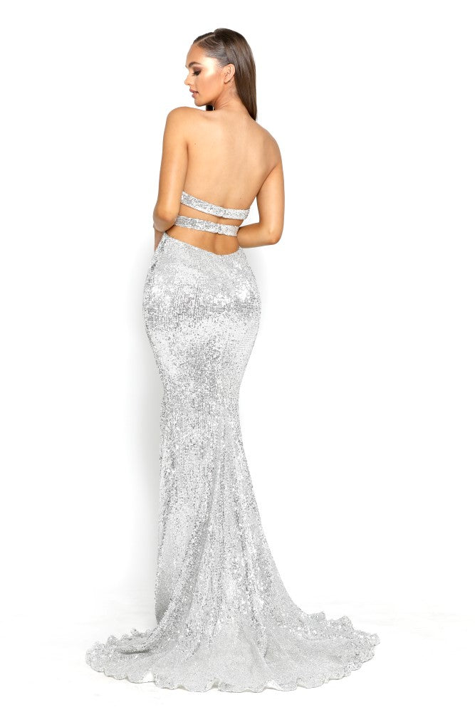 Portia & Scarlett Parker - Silver Sequin strapless evening dress with mermaid train