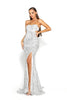 Portia & Scarlett Parker - Silver Sequin strapless evening dress prom dress