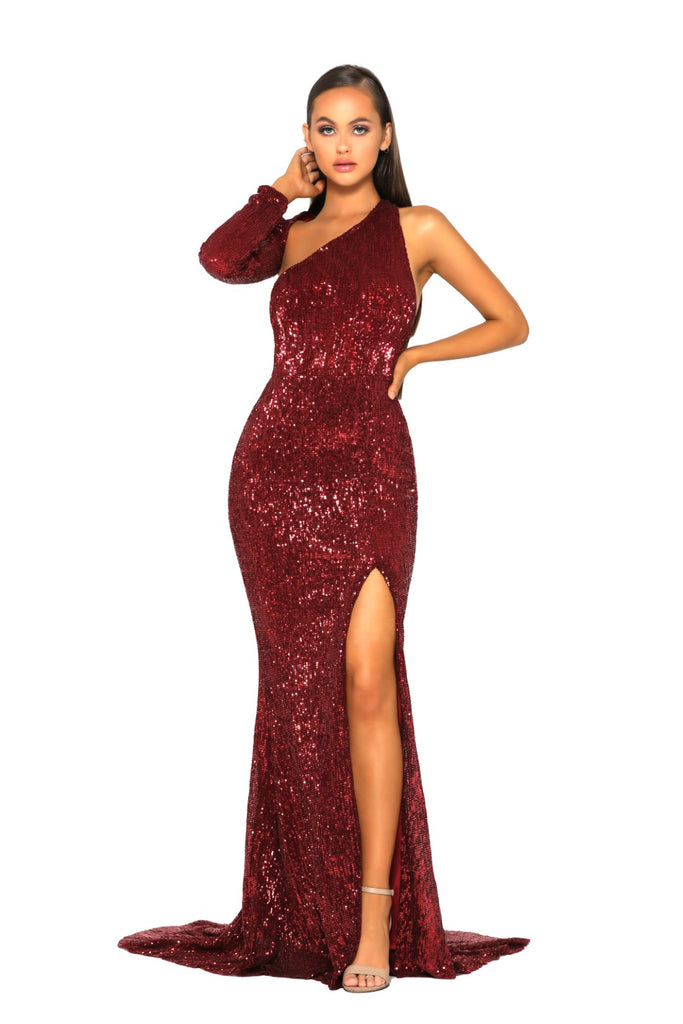 portia and scarlett ps2045 esme red asymmetric long sleeve sequin gown with thigh high split and mermaid train at shaide boutique next day uk delivery