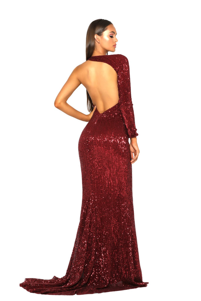 portia and scarlett ps2045 esme red asymmetric long sleeve sequin gown with thigh high split and mermaid train at shaide boutique next day uk delivery back