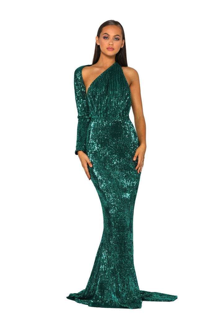 Portia & Scarlett Esme PS2045 - Emerald long sleeve asymmetric prom dress black tie dress with mermaid train from shaide boutique uk next day delivery