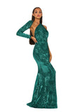 Portia & Scarlett Esme PS2045 - Emerald long sleeve asymmetric prom dress black tie dress with mermaid train from shaide boutique uk next day delivery side