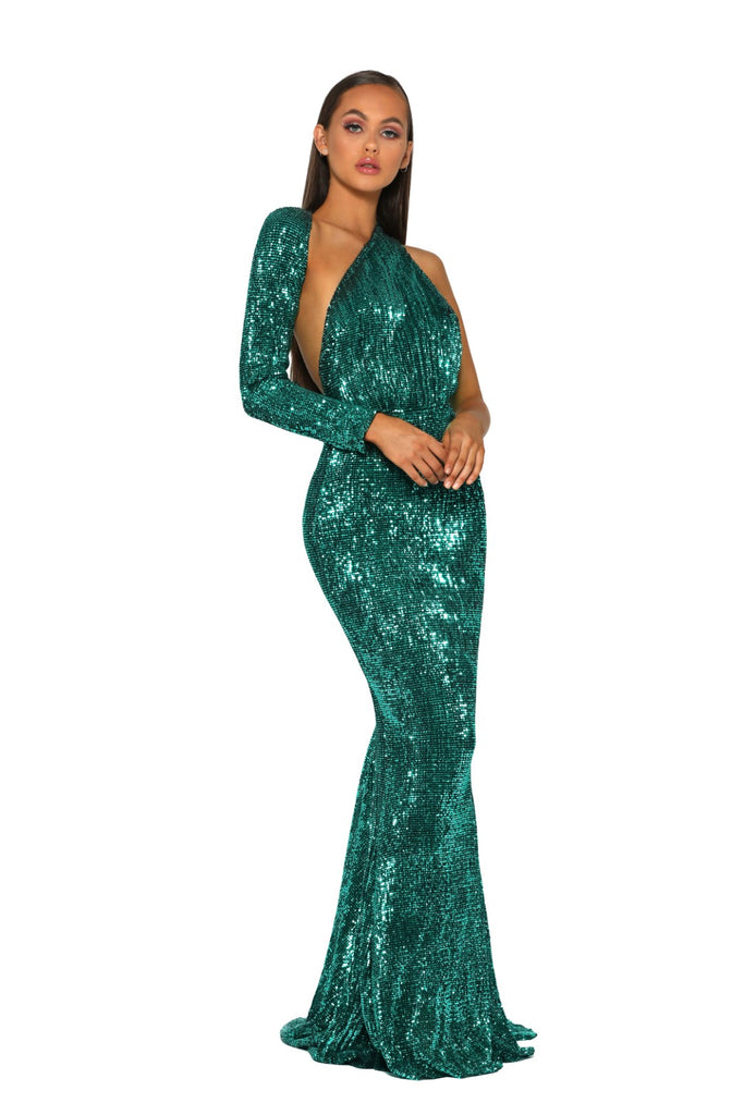 Portia & Scarlett Esme PS2045 - Emerald long sleeve asymmetric prom dress black tie dress with mermaid train from shaide boutique uk next day delivery front