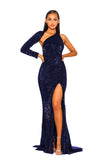Portia & Scarlett Esme PS2045 - Navy Blue asymmetric long sleeve bodycon black tie evening dress at shaide boutique next day uk delivery