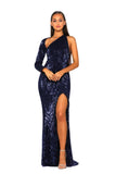 Portia & Scarlett Esme PS2045 - Navy Blue asymmetric long sleeve bodycon black tie evening dress at shaide boutique next day uk delivery front