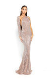 portia and scarlett asymmetric sleeve rose gold pink sequin bodycon mermaid train evening dress