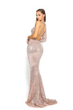portia and scarlett asymmetric sleeve rose gold pink sequin bodycon mermaid train evening dress backless
