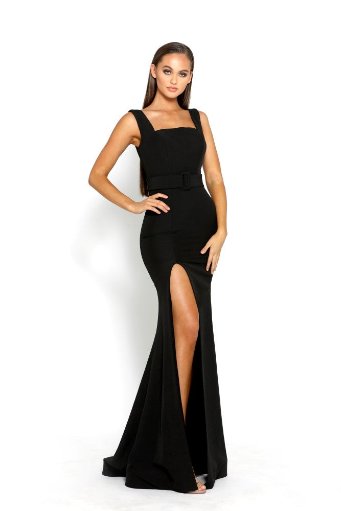 portia and scarlett ps2047 kenna black prom dress with thigh high split