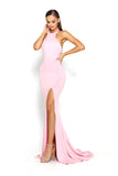 portia and scarlett tripp ps2055 halter backless bodycon pink prom dress at shaide boutique uk online front