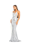 portia and scarlett PS2069 silver sasu backless halterneck gown with a mermaid train and halterneck from shaide boutique uk
