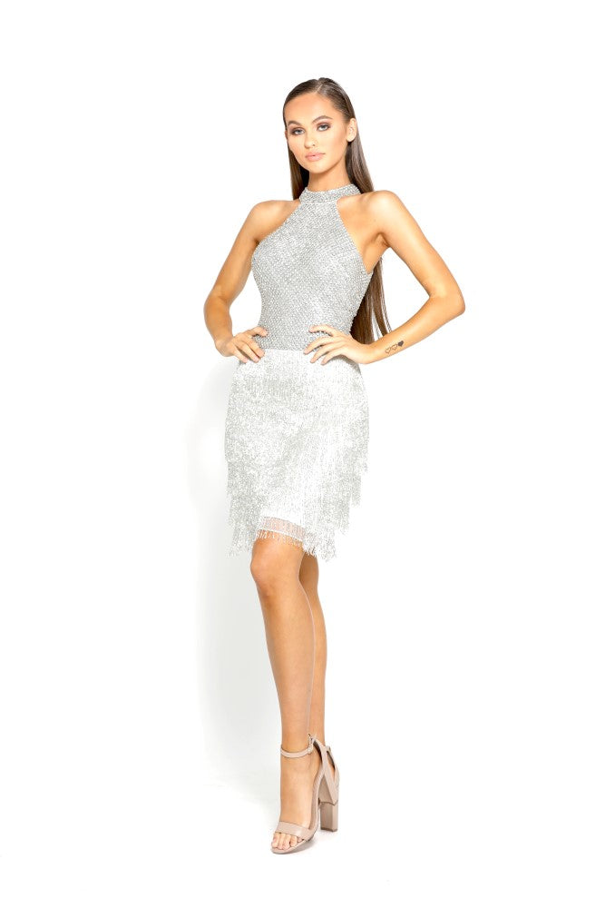 Portia & Scarlett PS2074 - Belle Epoque tassel sequin mini dress at shaide boutique uk