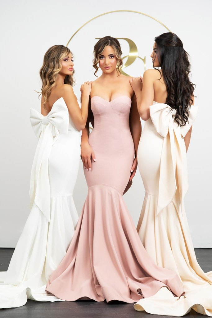 Portia & Scarlett PS21005 cream bridesmaids dress with sweetheart bust, bodycon mermaid fit with train at shaide boutique uk & usa back