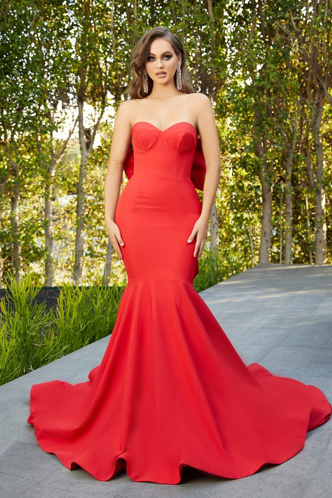 Portia & Scarlett PS21005 red strapless sweetheart mermaid evening gown at shaide boutique uk