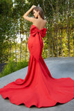 Portia & Scarlett PS21005 red strapless sweetheart mermaid evening gown at shaide boutique uk back