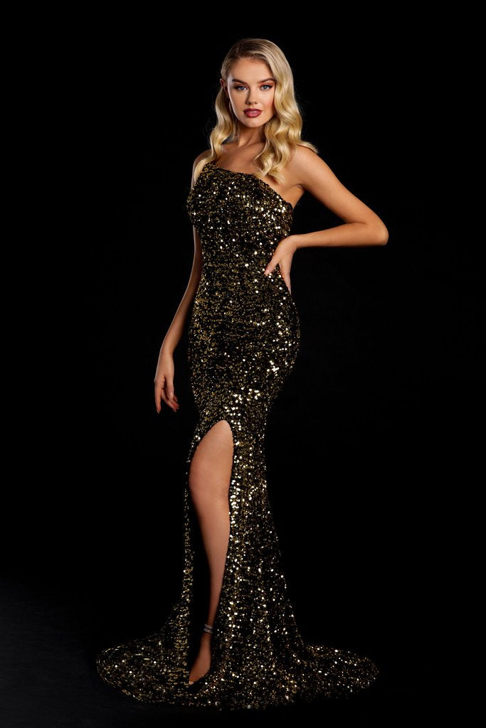 Portia & Scarlett PS21012 gold one shouldered sequin evening gown with sexy bodycon fit and mermaid train at shaide boutique uk