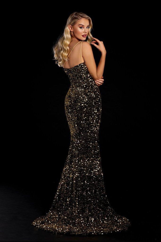 Portia & Scarlett PS21012 gold one shouldered sequin evening gown with sexy bodycon fit and mermaid train at shaide boutique uk side