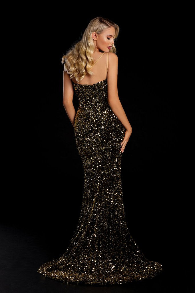 Portia & Scarlett PS21012 gold one shouldered sequin evening gown with sexy bodycon fit and mermaid train at shaide boutique uk back