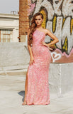 Portia & Scarlett PS21014 pink sequin one shouldered bodycon evening dress with thigh high split at shadie boutique uk