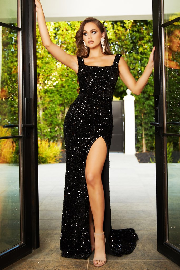 Portia & Scarlett black sequin evening sweetheart neckline bodycon sexy gown at shaide boutique uk