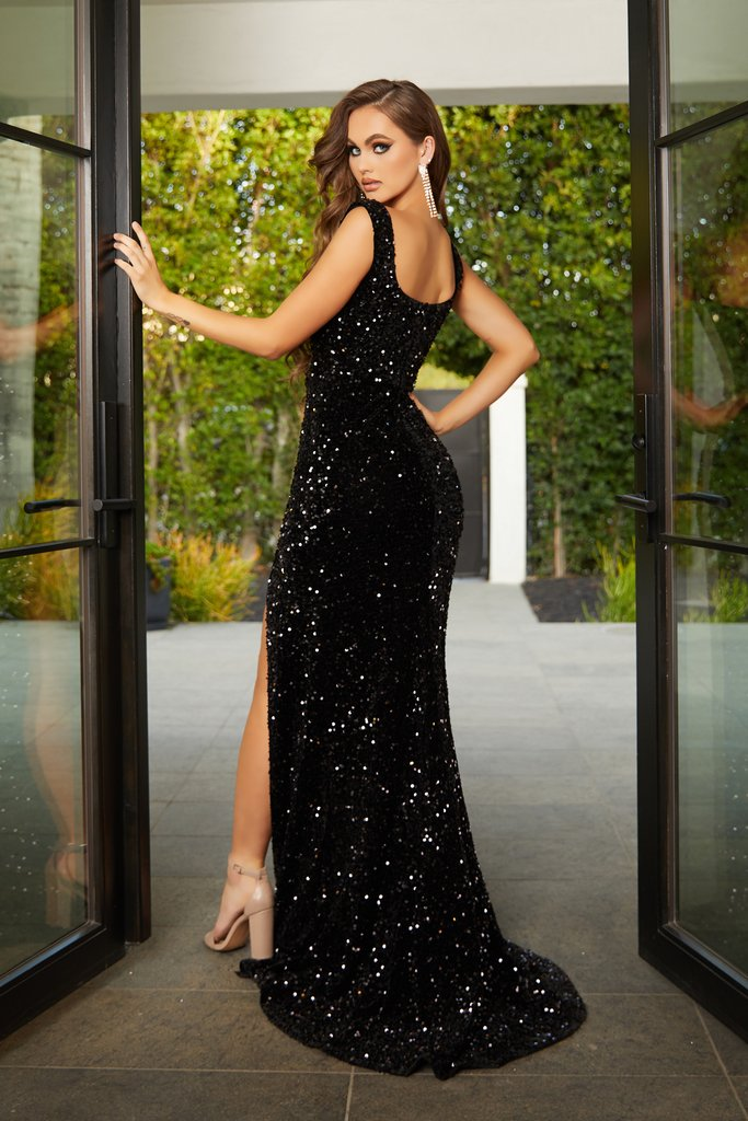 Portia & Scarlett black sequin evening sweetheart neckline bodycon sexy gown at shaide boutique uk back