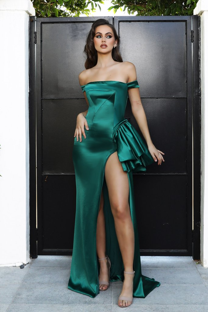 Portia & Scarlett PS21048 emerald green off the shoulder satin bodycon evening gown with sexy thigh high split at shadie boutique uk usa