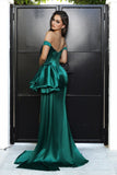 Portia & Scarlett PS21048 emerald green off the shoulder satin bodycon evening gown with sexy thigh high split at shadie boutique uk usa back