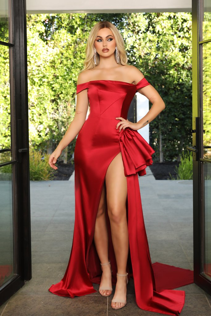 Portia & Scarlett PS21048 red satin bridesmaids evening gown sexy thigh high split at shaide boutique uk