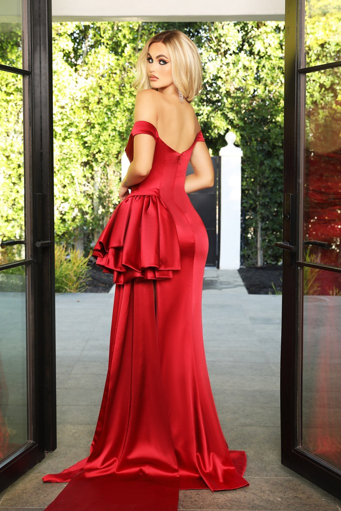 Portia & Scarlett PS21048 red satin bridesmaids evening gown sexy thigh high split at shaide boutique uk back