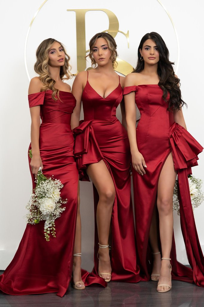 Portia & Scarlett PS21048 red satin sexy bridesmaids evening gown sexy thigh high split at shaide boutique uk
