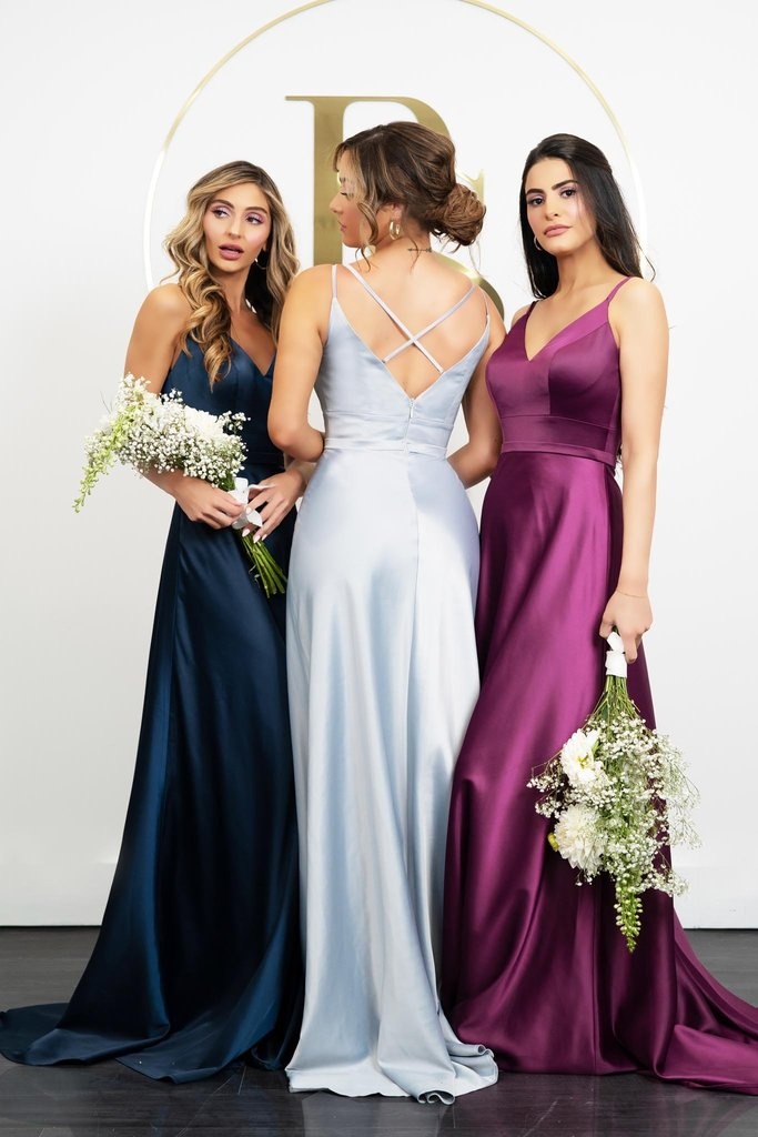 Portia and Scarlett PS21051 bridesmaids dress silk satin with V neck flowing princess skirt