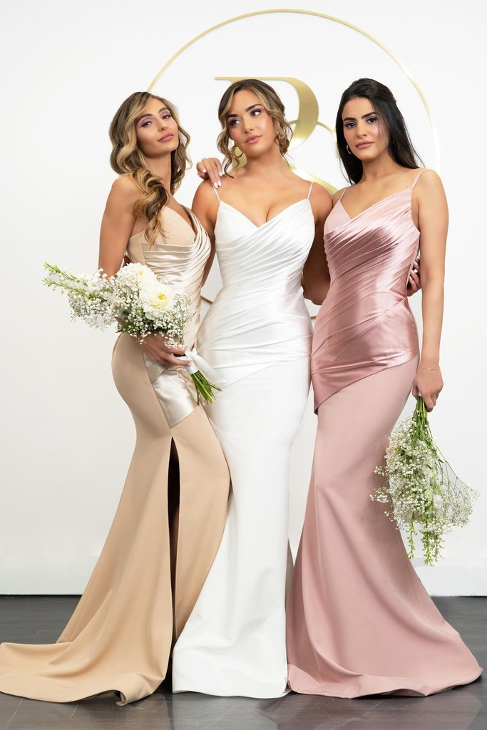 Portia & Scarlett PS21057 nude bridesmaids dress satin bodycon sexy fit at shaide boutique uk & usa