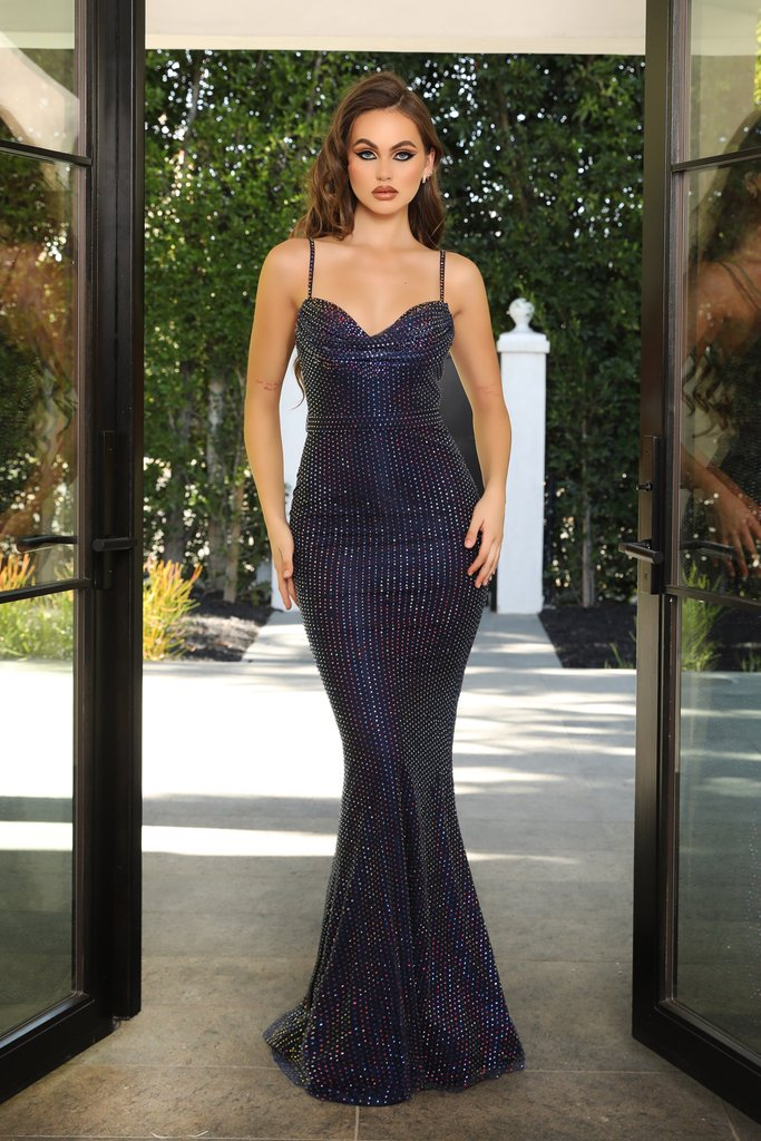 Portia & Scarlett PS21119 navy rhinestone embellised evening gown prom dress at shaide boutique uk usa