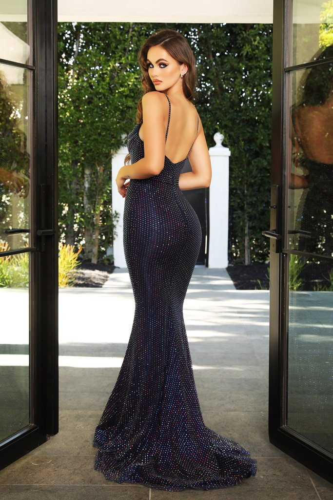 Portia & Scarlett PS21119 navy rhinestone embellised evening gown prom dress at shaide boutique uk usa back