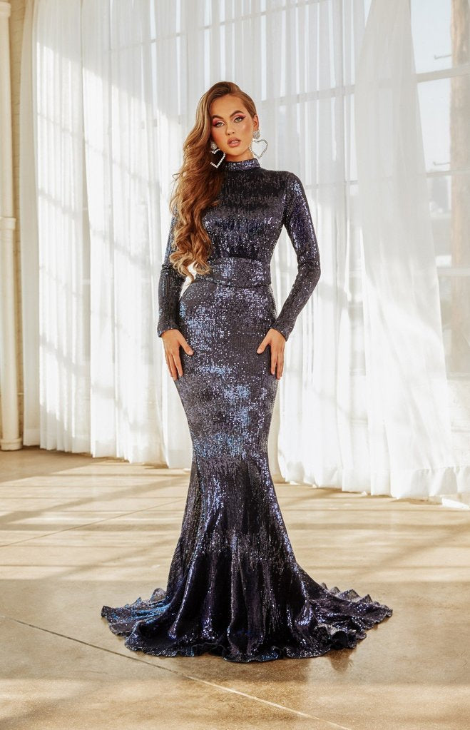Portia & Scarlett PS21202 navy bodycon sequin high neck evening gown with open back detail at shaide boutique uk