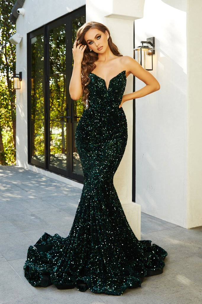 The Portia & Scarlett PS21208 emerald velvet sequin sweetheart bust evening dress with mermaid train