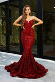 Portia & Scarlett PS21208 red velvet sequin sweetheart neckline strapless evening dress with mermaid train at shaide boutique uk