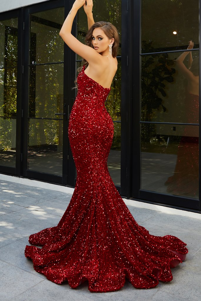 Portia & Scarlett PS21208 red velvet sequin sweetheart neckline strapless evening dress with mermaid train at shaide boutique uk back